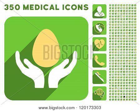 Incubator Hands Icon and Medical Longshadow Icon Set
