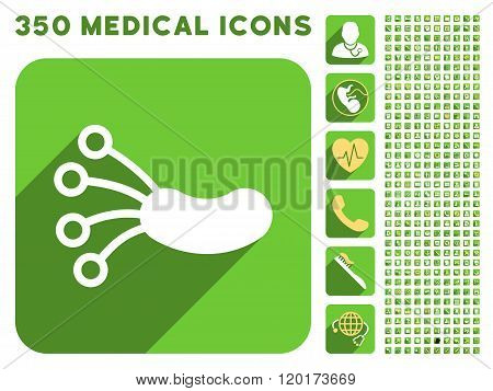 Infection Microbe Icon and Medical Longshadow Icon Set