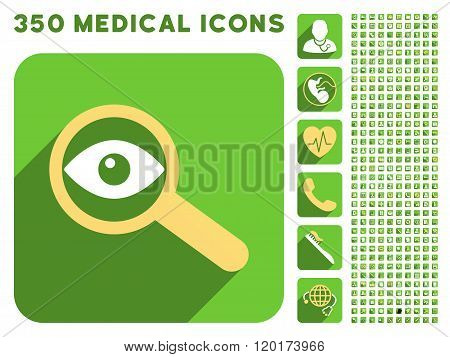 Investigate Vision Icon and Medical Longshadow Icon Set
