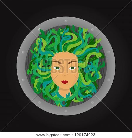 Medusa Gorgon Head With A Shield On Background