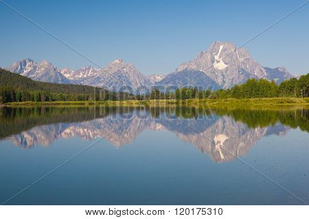 View Of The Grand Teton Mountains From Oxbow Bend On The Snake River.wyoming, Usa