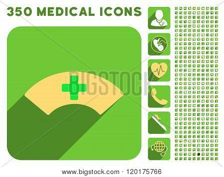Medical Visor Icon and Medical Longshadow Icon Set