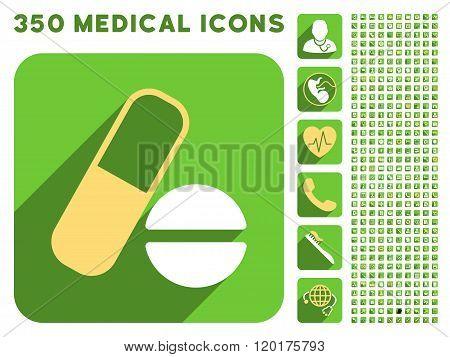 Medication Icon and Medical Longshadow Icon Set
