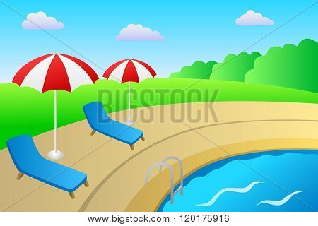 Swimming pool vacation deck chair umbrella landscape summer day illustration vector