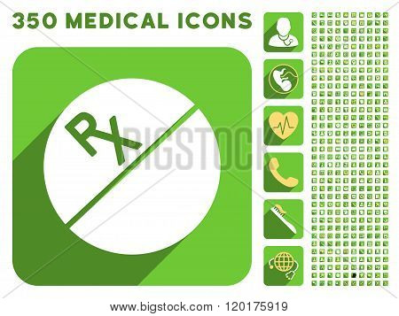 Medication Tablet Icon and Medical Longshadow Icon Set