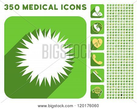 Microbe Spore Icon and Medical Longshadow Icon Set