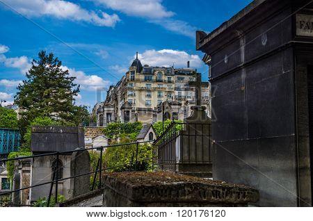 Paris France 2014 April 20 The graveyard at Montmarte district of Paris which is an historic entertainment area of Paris