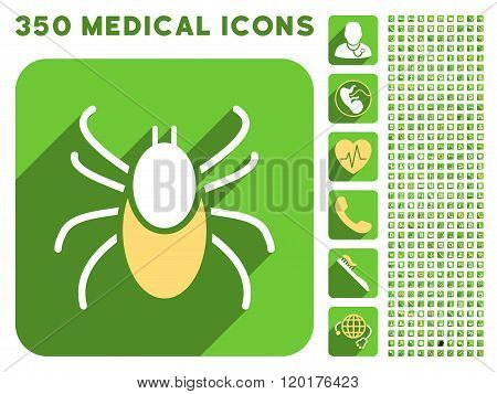 Mite Icon and Medical Longshadow Icon Set