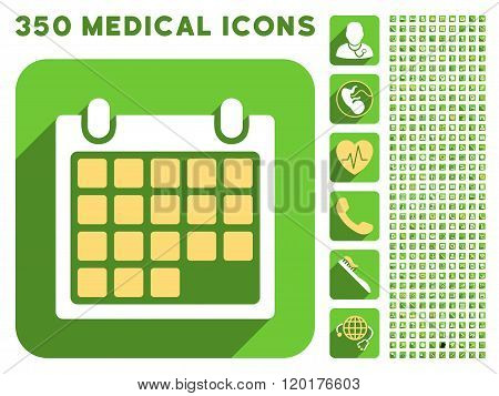 Month Calendar Icon and Medical Longshadow Icon Set