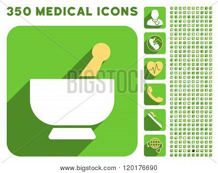 Mortar Icon and Medical Longshadow Icon Set