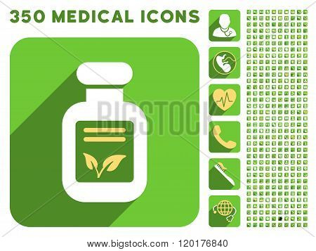 Natural Drugs Icon and Medical Longshadow Icon Set