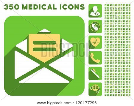 Open Mail Icon and Medical Longshadow Icon Set