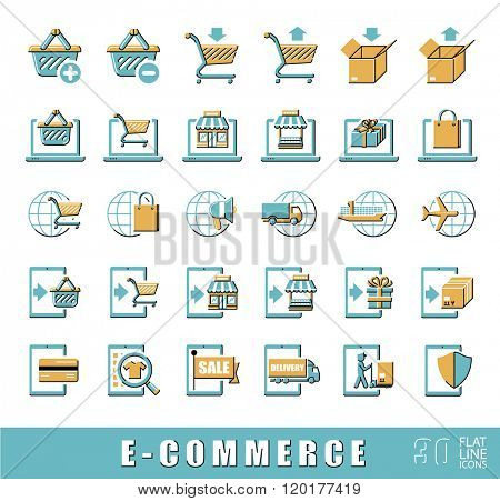 Collection of icons for online shopping. Vector illustration. Premium quality flat line icon set for e-commerce.