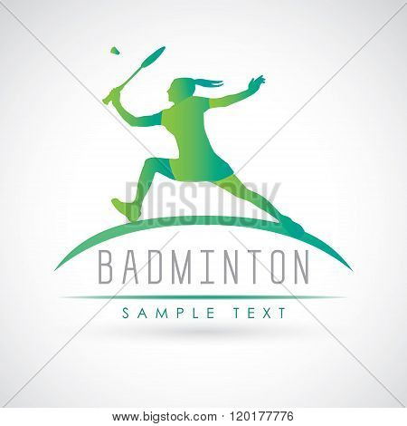 Badminton Sports Logo. Female Badminton Player
