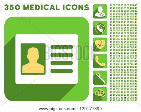 Patient Account Icon and Medical Longshadow Icon Set