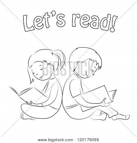 Kids reading books - outline. Coloring page.