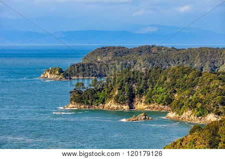 View Of The Coastline In Abel Tasman National Park, New Zealand