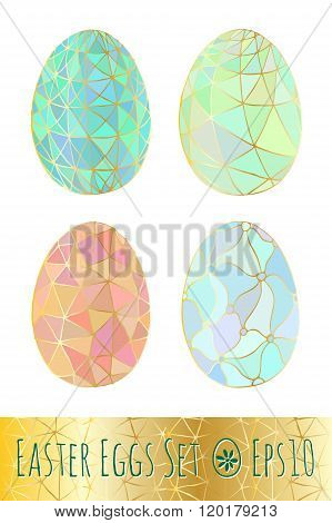 Easter eggs set with pattern. Vector illustration