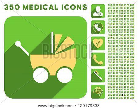 Pram Icon and Medical Longshadow Icon Set