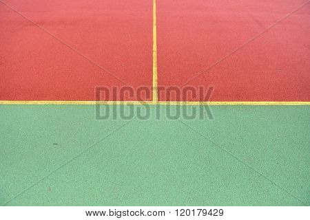Detail Of Crossed Yellow Lines On Football Playground. Detail Of Lines In A Soccer Field Made From R