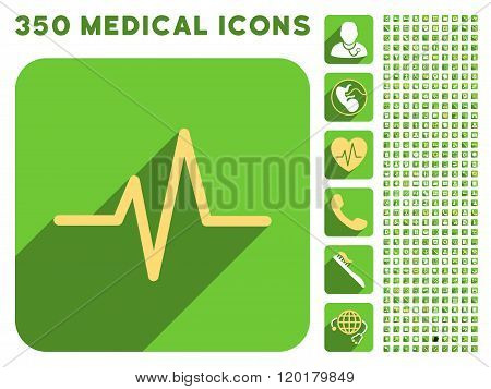 Pulse Icon and Medical Longshadow Icon Set