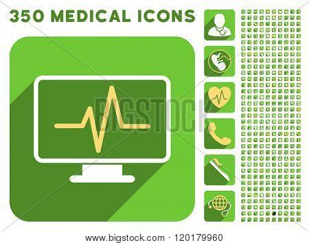 Pulse Monitoring Icon and Medical Longshadow Icon Set