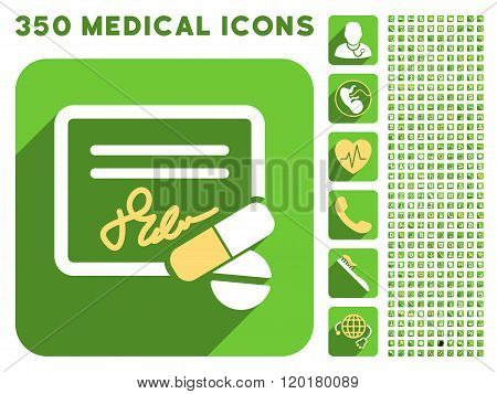Receipt and Pills Icon and Medical Longshadow Icon Set