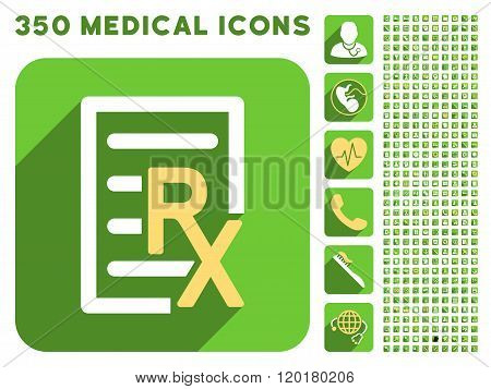 Receipt Text Icon and Medical Longshadow Icon Set