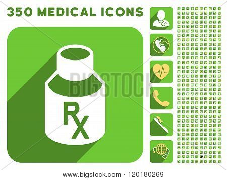 Receipt Vial Icon and Medical Longshadow Icon Set