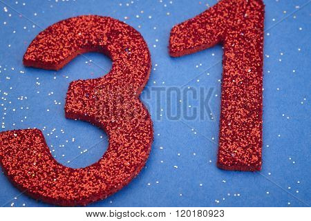 Number Thirty One Red Color Over A Blue Background. Anniversary