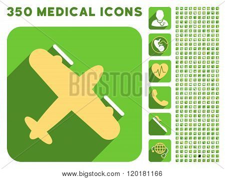 Screw Aeroplane Icon and Medical Longshadow Icon Set