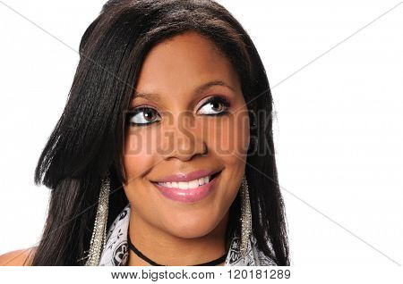Young African American businesswoman looking up isolated over white background