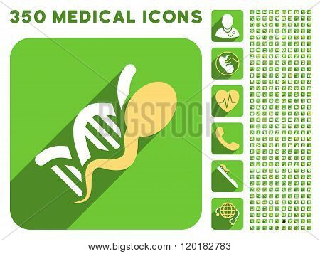 Sperm Genome Icon and Medical Longshadow Icon Set