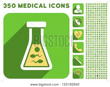 Sperm Liquid Icon and Medical Longshadow Icon Set