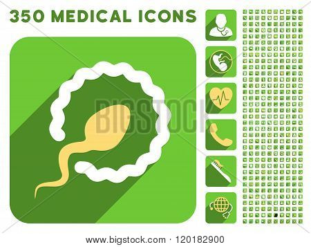 Sperm Penetration Icon and Medical Longshadow Icon Set