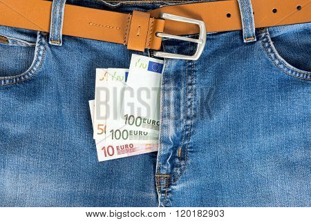 Close-up Of One Hundred And Fifty Euro Banknote In Jeans Zipped.