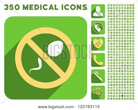 Spermicide Icon and Medical Longshadow Icon Set