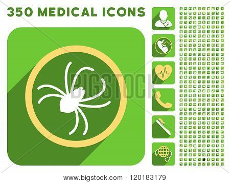 Spider Icon and Medical Longshadow Icon Set