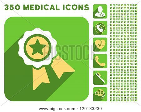 Star Quality Seal Icon and Medical Longshadow Icon Set