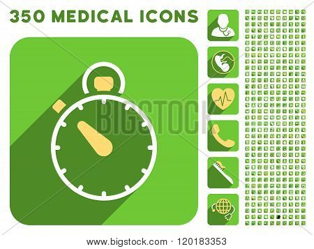 Stopwatch Icon and Medical Longshadow Icon Set