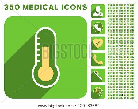 Temperature Icon and Medical Longshadow Icon Set