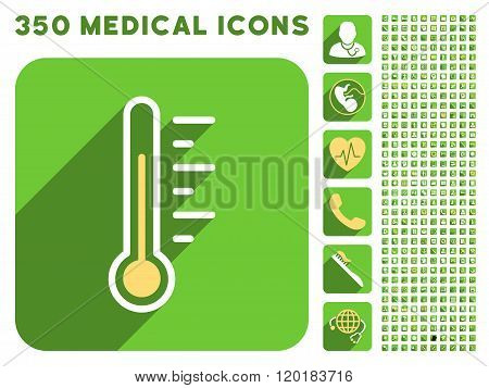 Temperature Level Icon and Medical Longshadow Icon Set