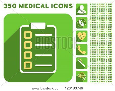 Test Form Icon and Medical Longshadow Icon Set