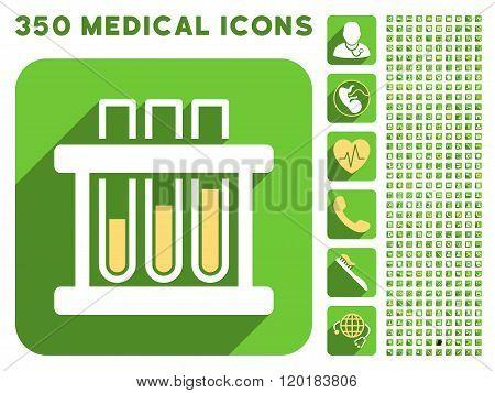 Test Tubes Icon and Medical Longshadow Icon Set