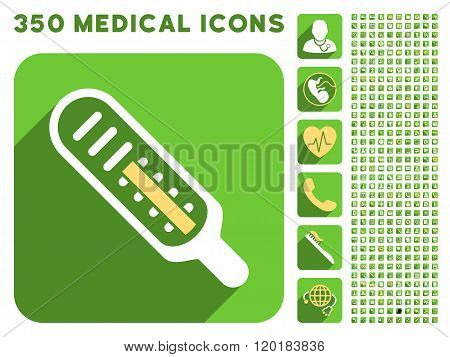Thermometer Icon and Medical Longshadow Icon Set