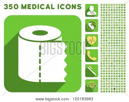 Toilet Paper Roll Icon and Medical Longshadow Icon Set