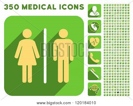 Toilet People Icon and Medical Longshadow Icon Set