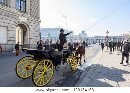 VIENNA, AUSTRIA - NOVEMBER 2015: A military parade near Hofburg Palace on 20th of November 2015 in V
