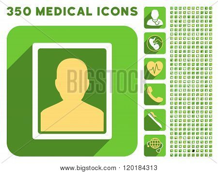 User Portrait Icon and Medical Longshadow Icon Set