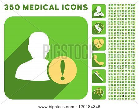 User Problem Icon and Medical Longshadow Icon Set